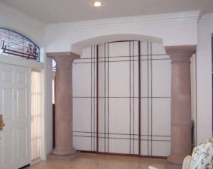 Design Shoji panels create privacy in this dramatic entry