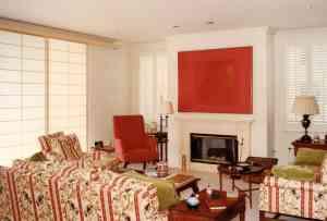 Sliding Design Shoji panels over a sliding glass door in a colorful living room